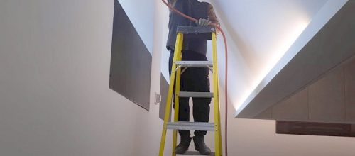Cleaning the duct line and vents plus sanitization of a gym at the University of Toronto